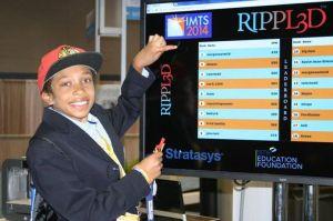 Morgan posing with the scoreboard!